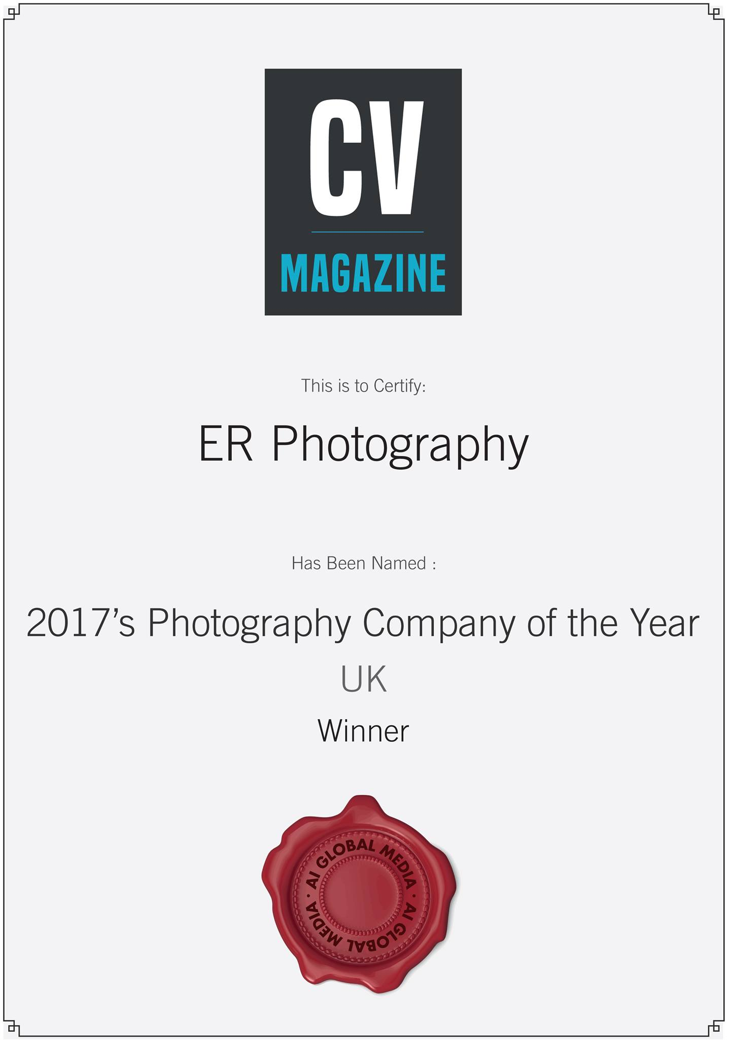 2017 Photography Company of the Year