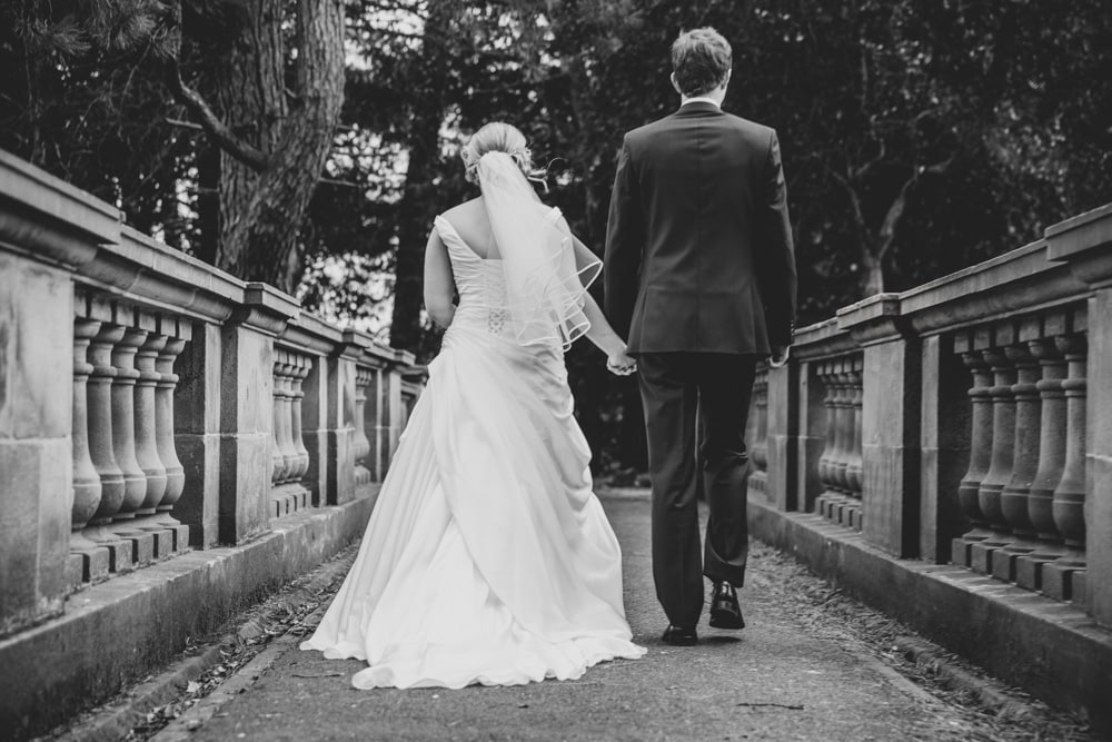 Bride and Groom on the bridge in Williamson Park, Lancaster