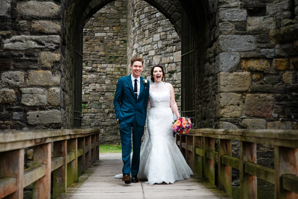 Bride and Groom at Beaumaris Castle