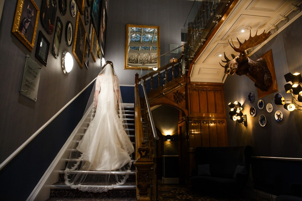 Bride on Staircase at Oddfellows On The Park