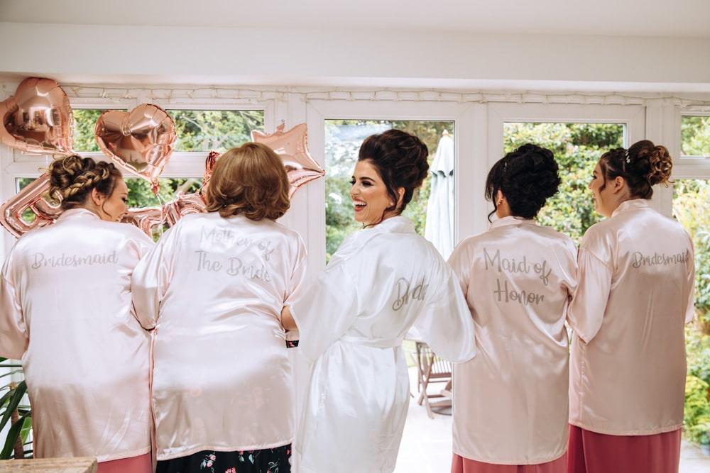 Girls having fun during bridal preparations