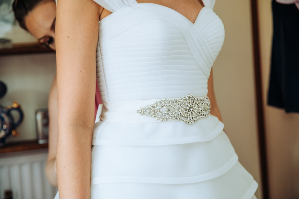 detail on the wedding dress