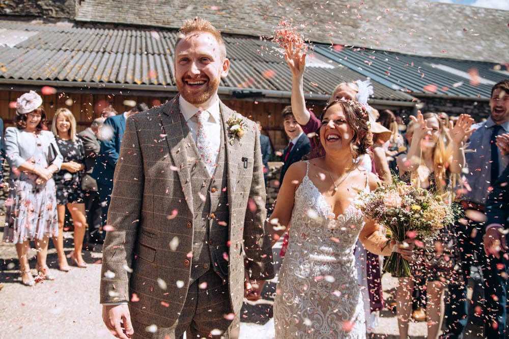 Confetti at Park House Barn Lake District Wedding Photographer