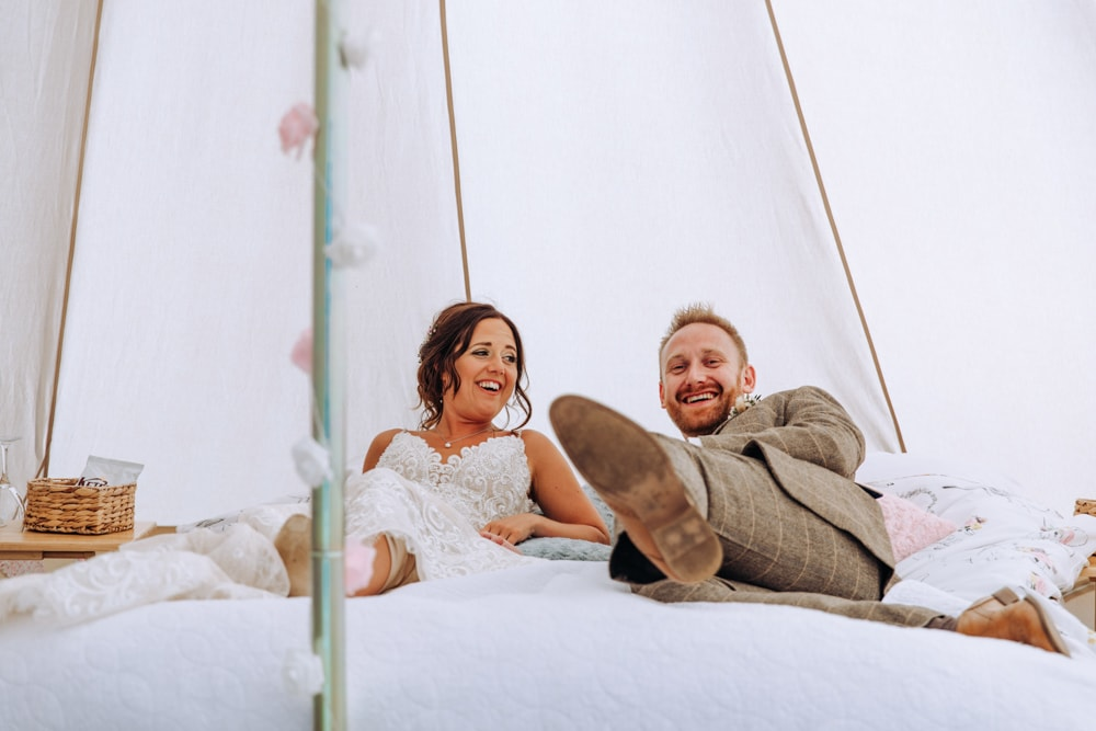 bride and groom in their wedding yurt at park house farm