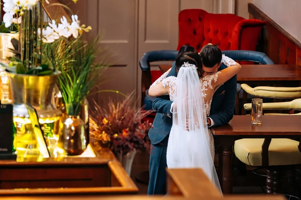 A romantic moment during the wedding