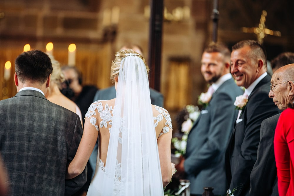 bride and groom getting married in a cheshire church