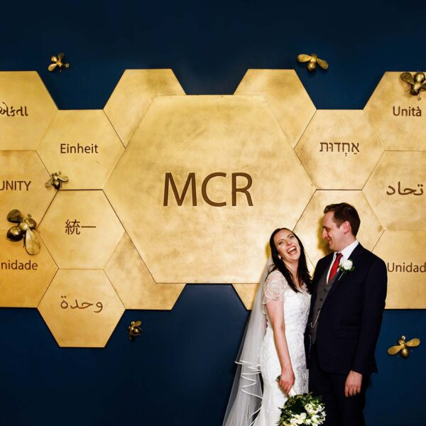 Manchester Hall Hotel Wedding Photographer with Bride and Groom in the entrance hall