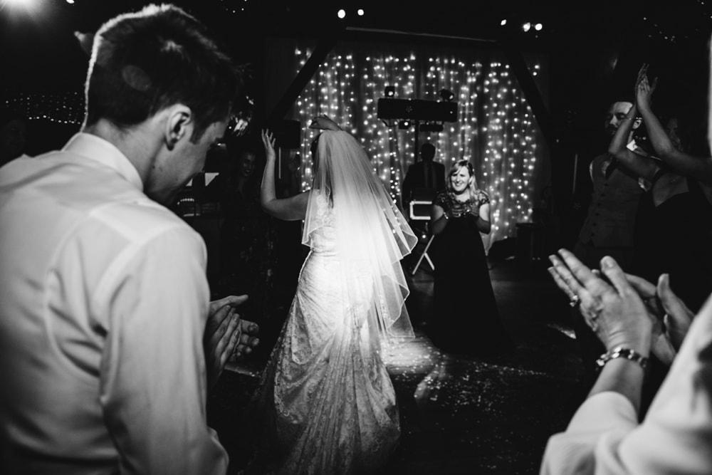 bride getting on the dancefloor