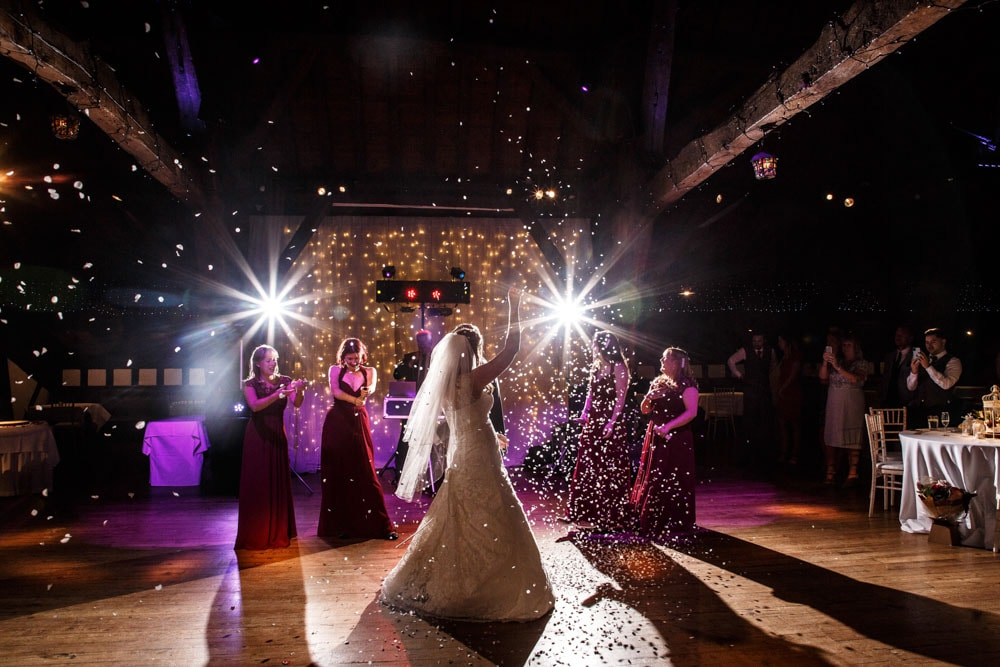 confetti on the dancefloor at rivington barn