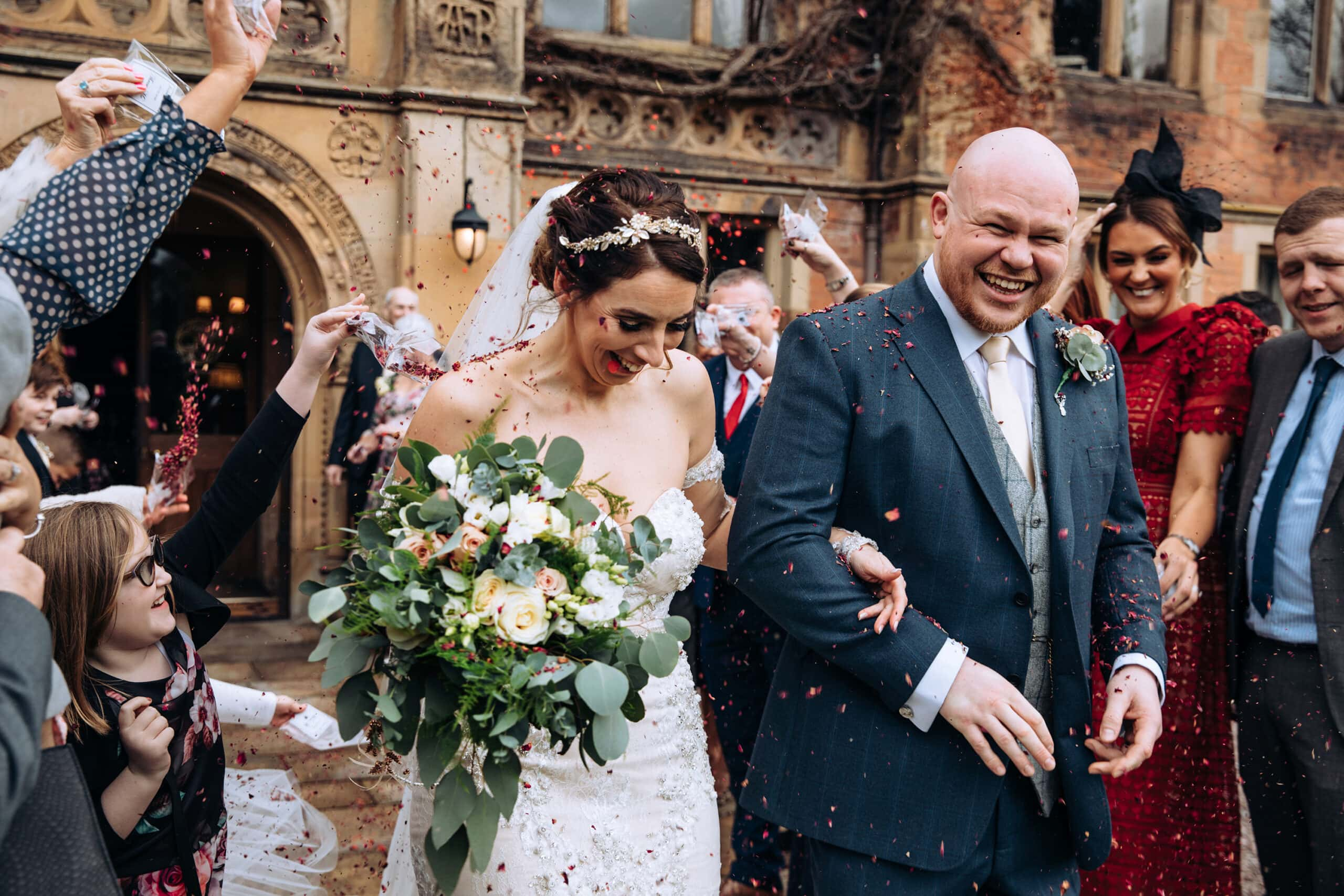 Wedding Photographer Manchester Bride and Groom with Confetti