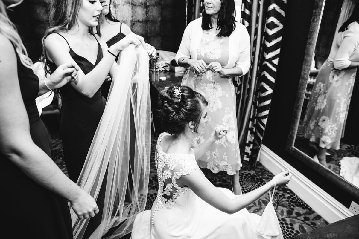 bride getting ready at thornton hall hotel