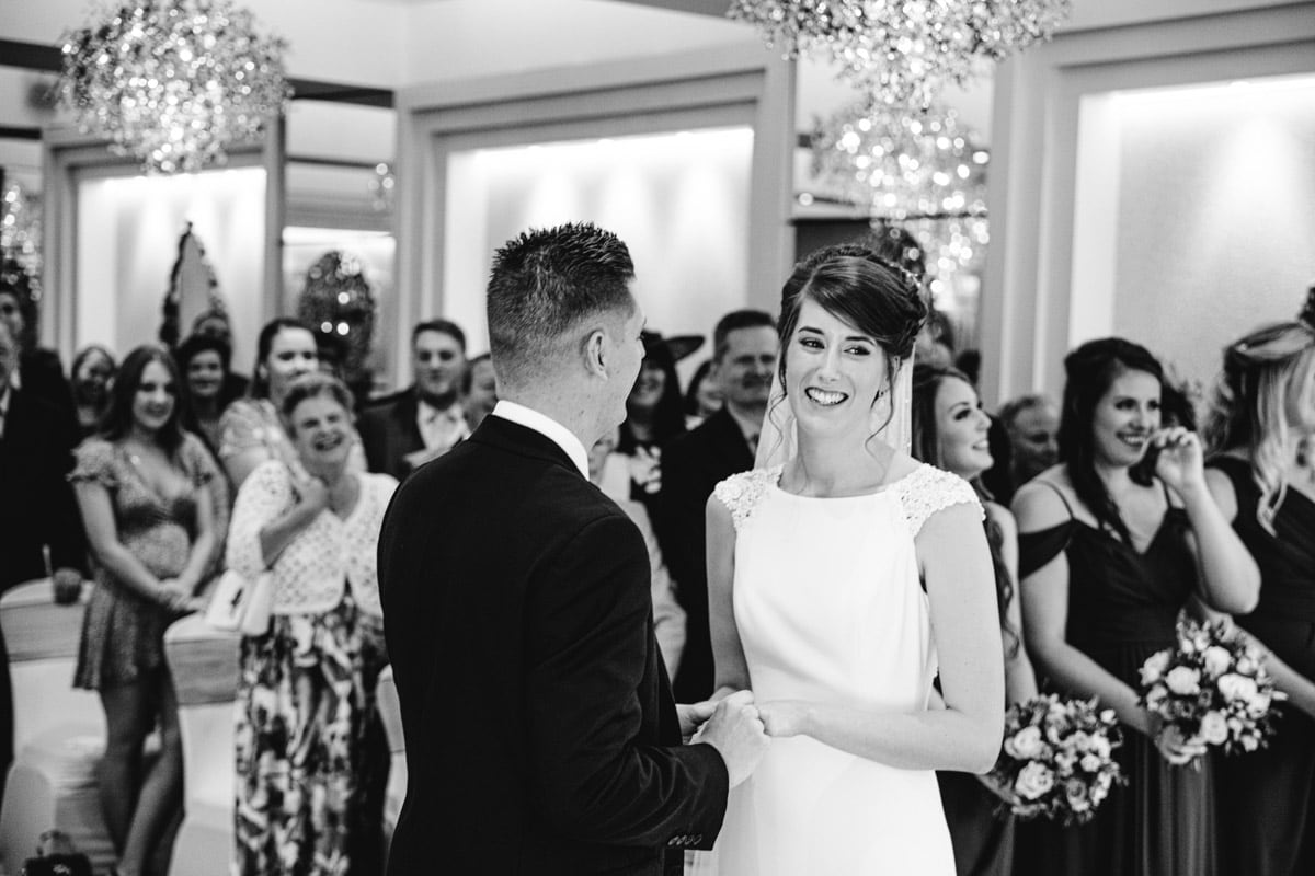 happy bride at thornton hall hotel