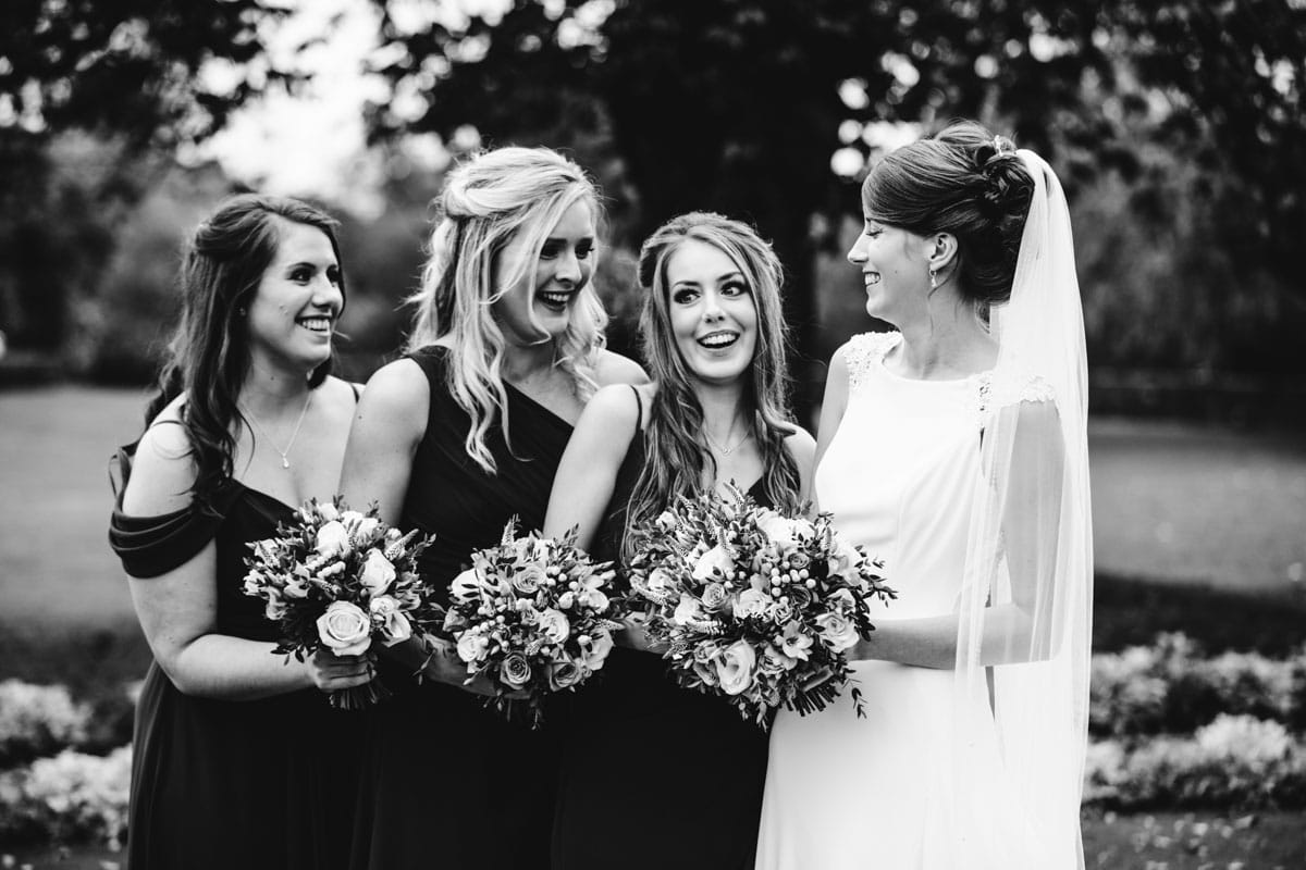 bridesmaids in black and white