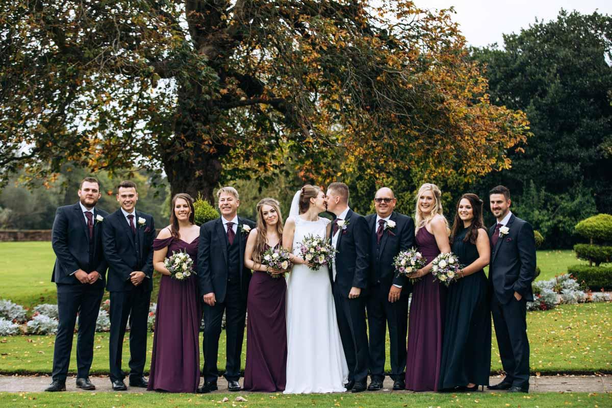 full bridal party at thornton hall hotel