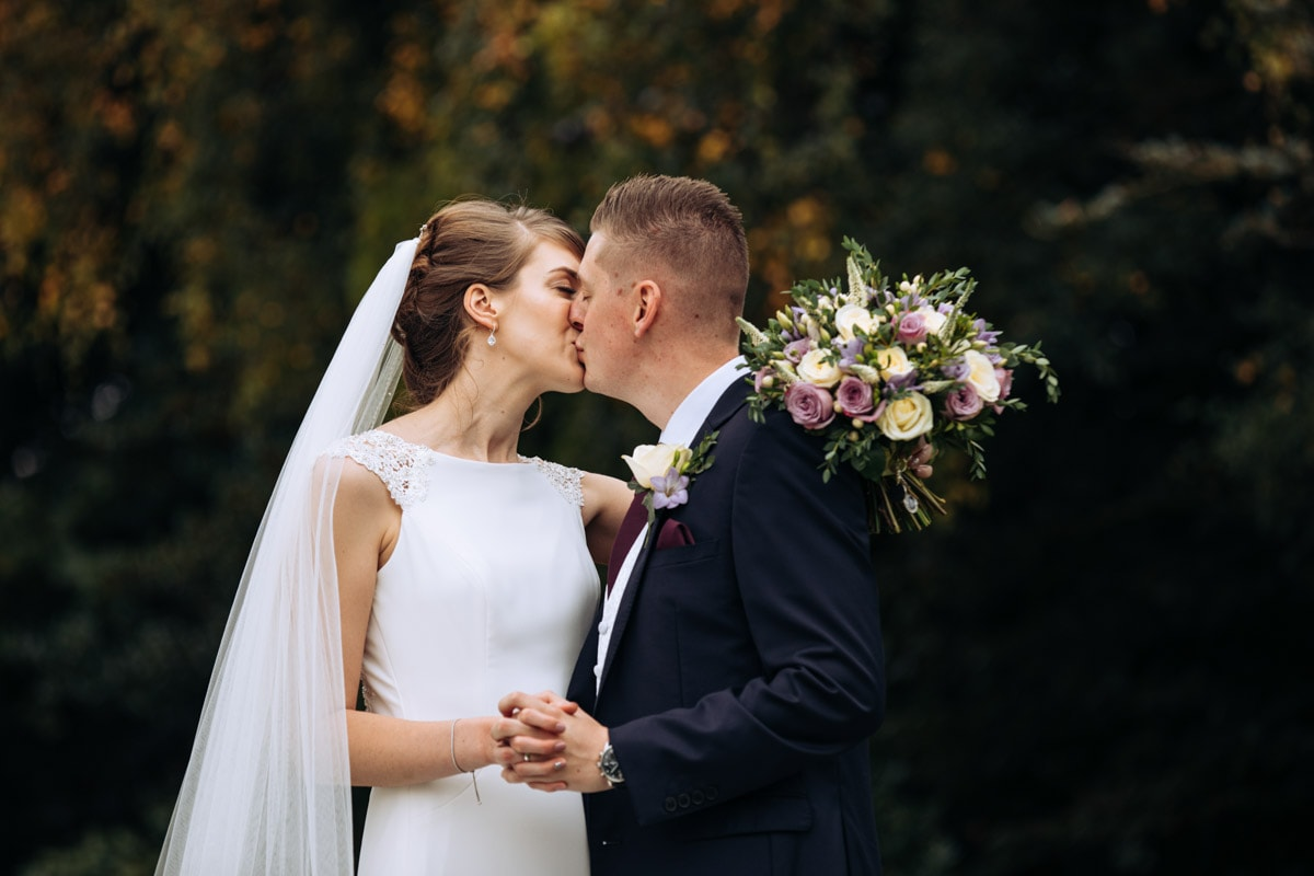 bride and groom at thornton hall hotel