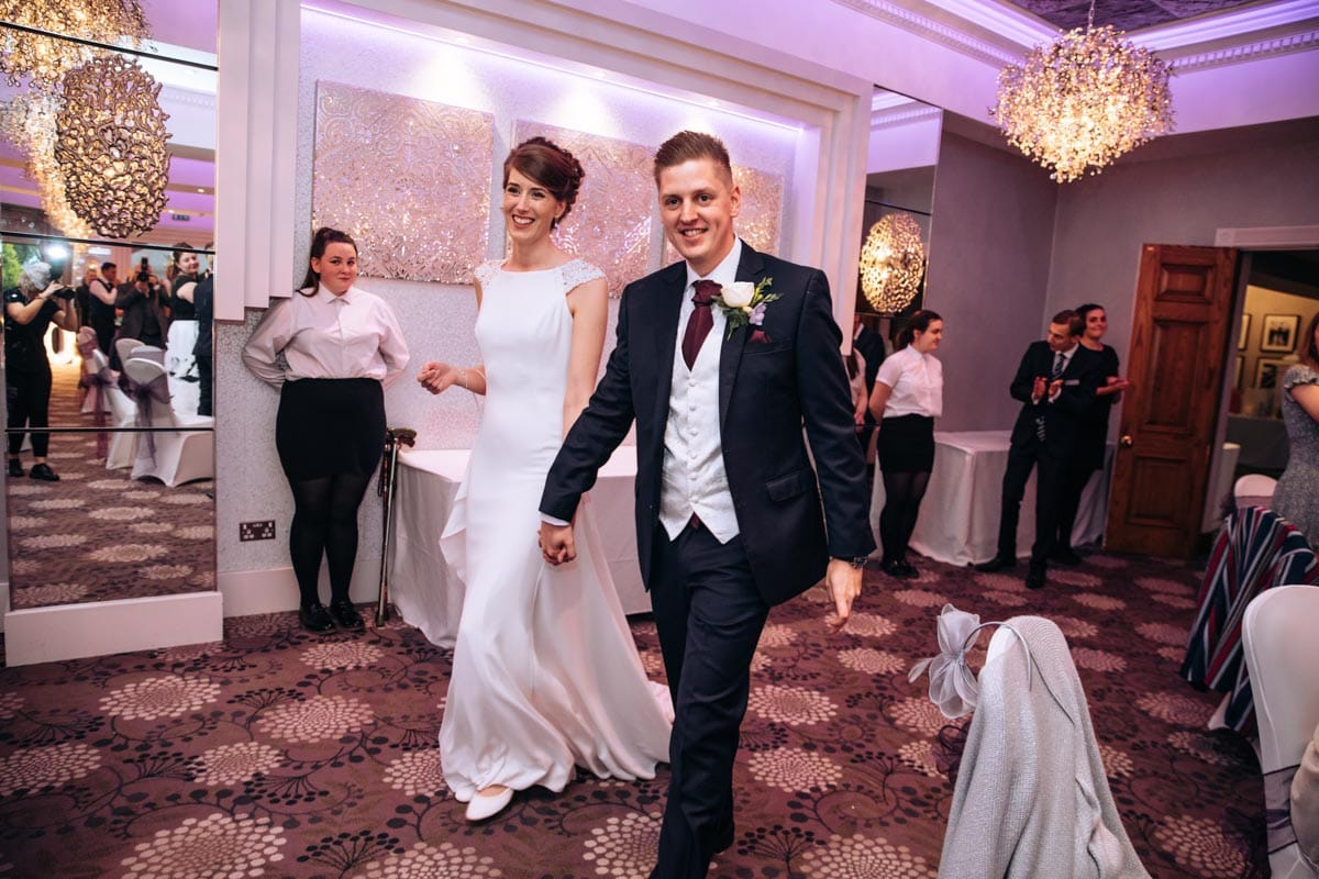 bride and groom entrance at thornton hall hotel