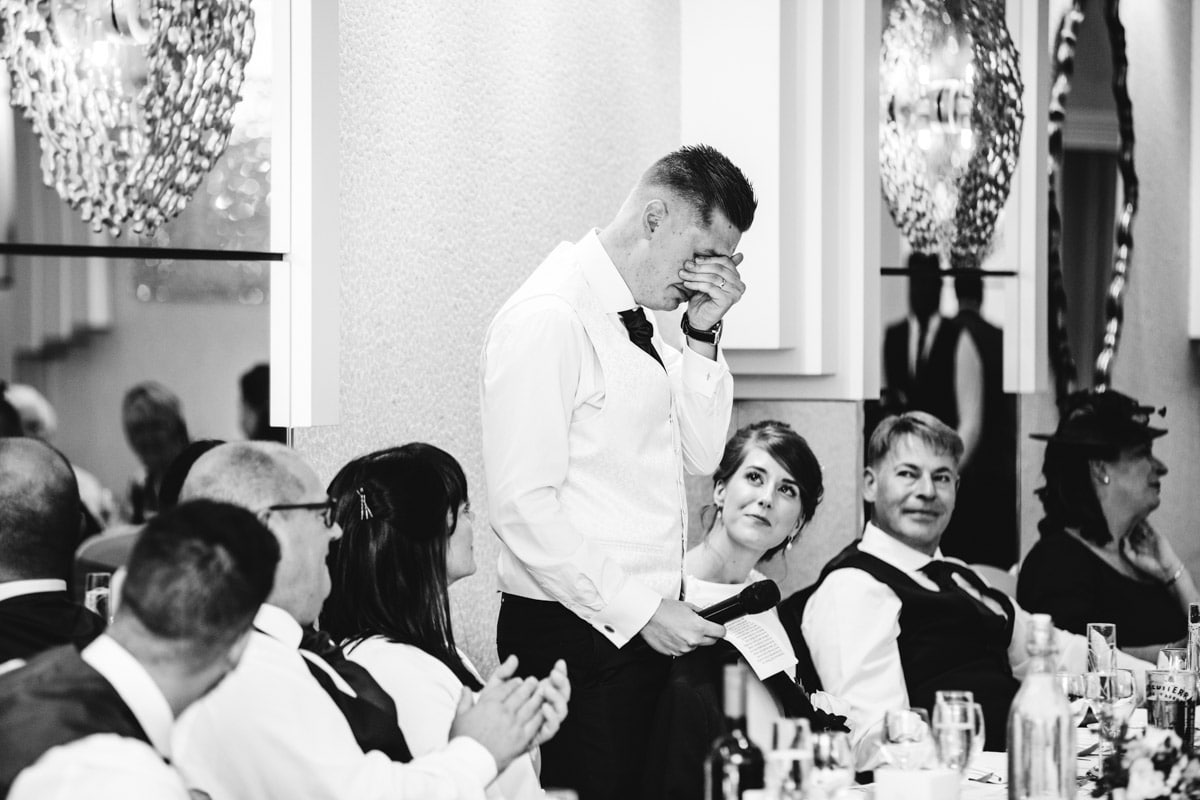 emotional groom at thornton hall hotel