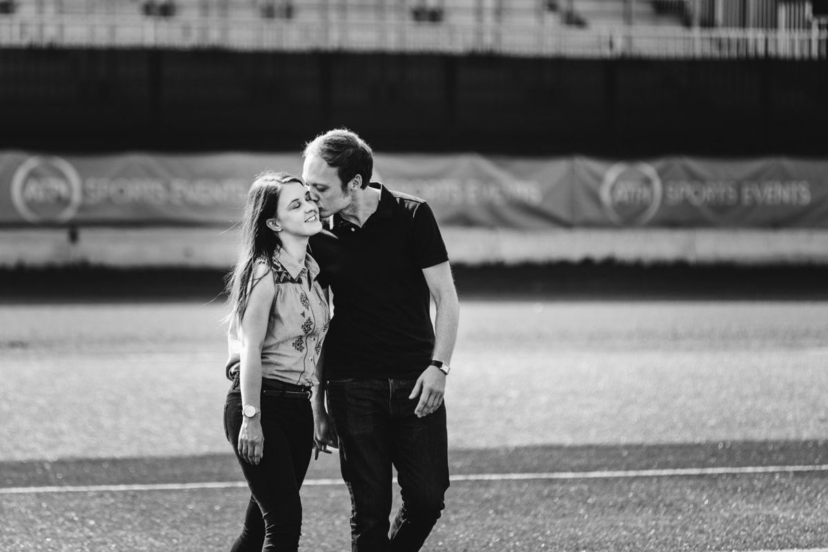 Engaged Couple on the Speedway