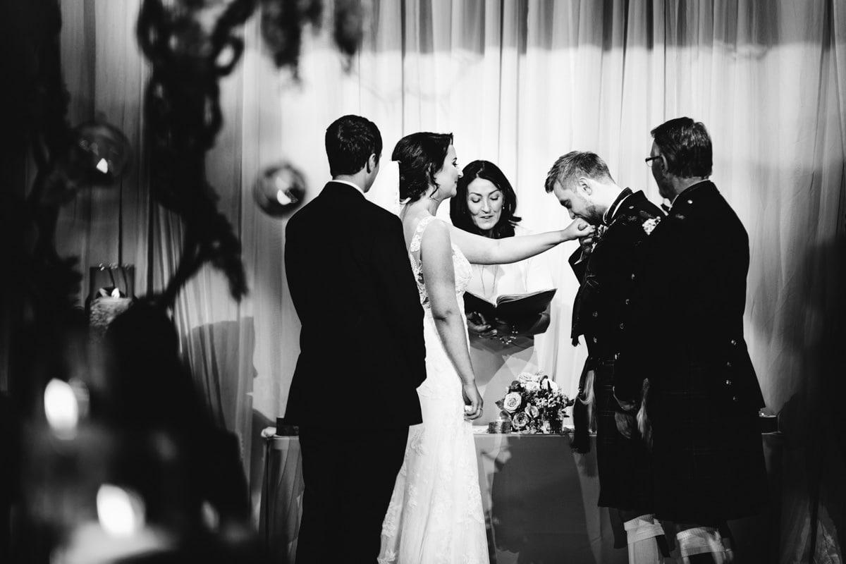 a cute moment at a rivington barn wedding