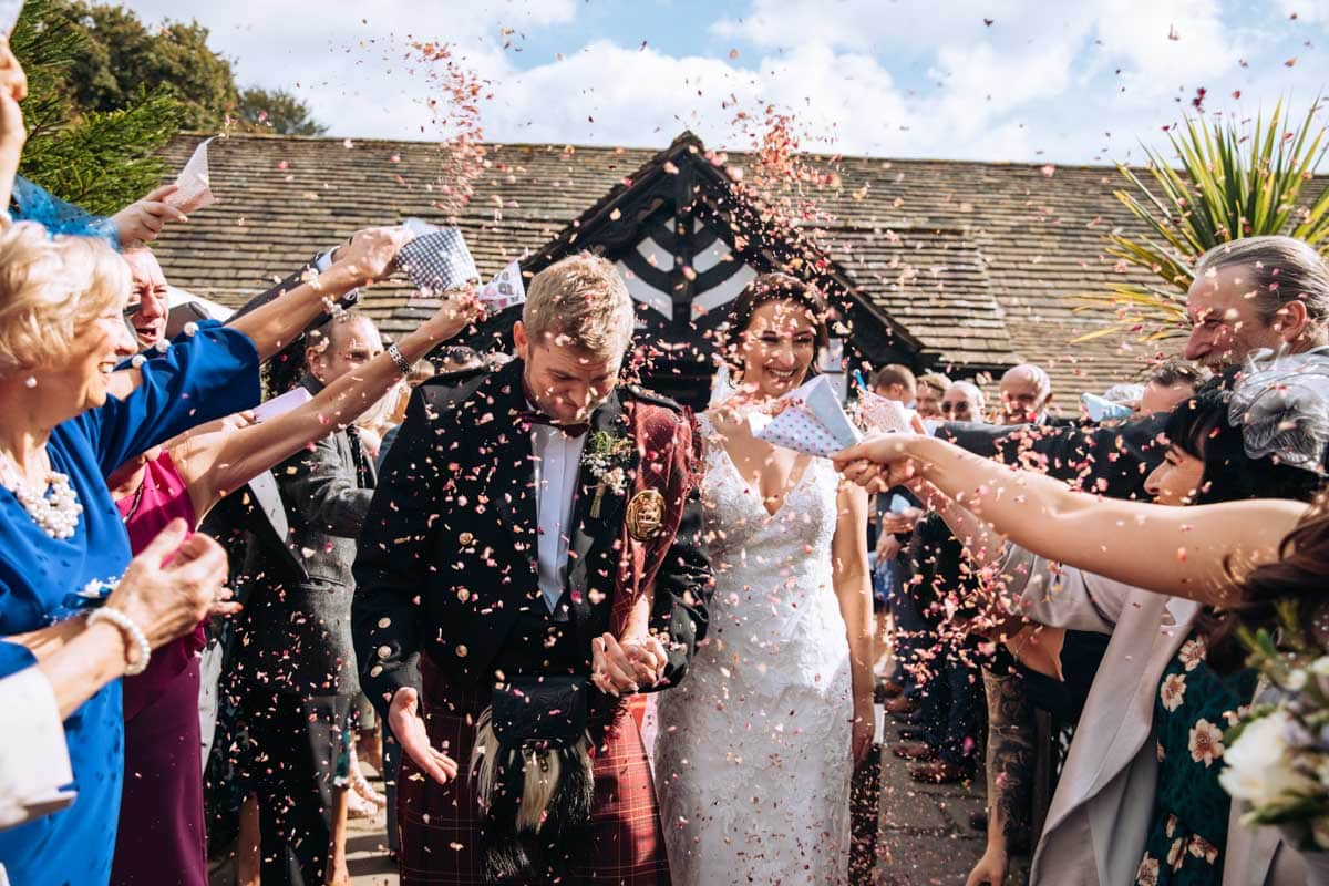 confetti overload at a wedding