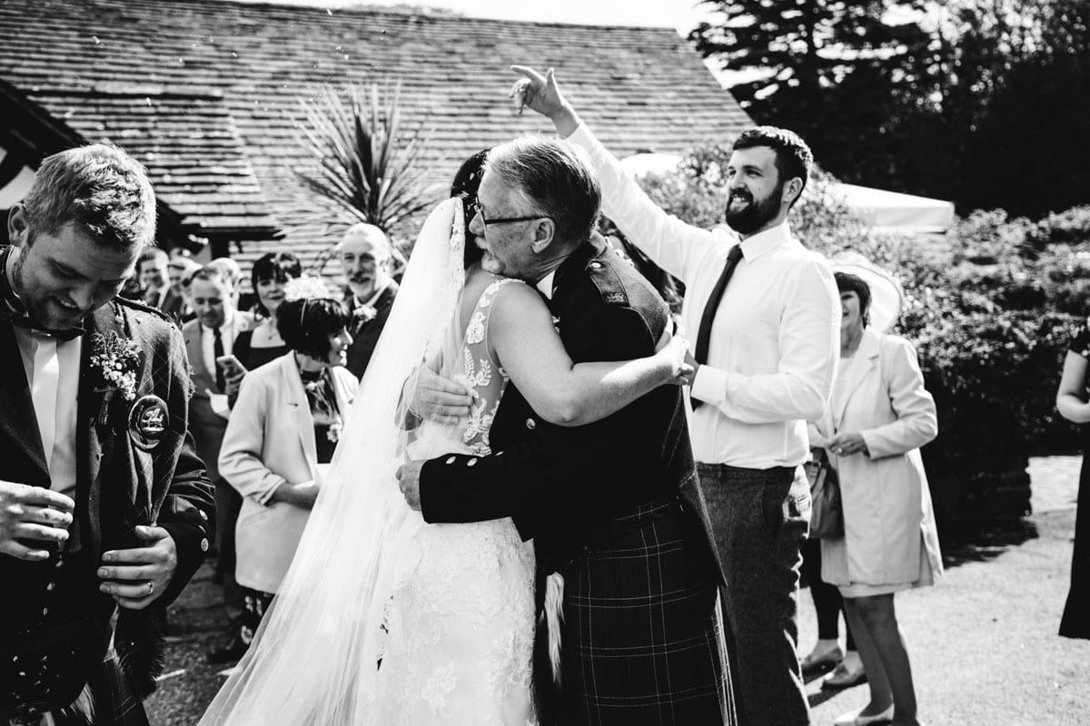 wedding party hugs