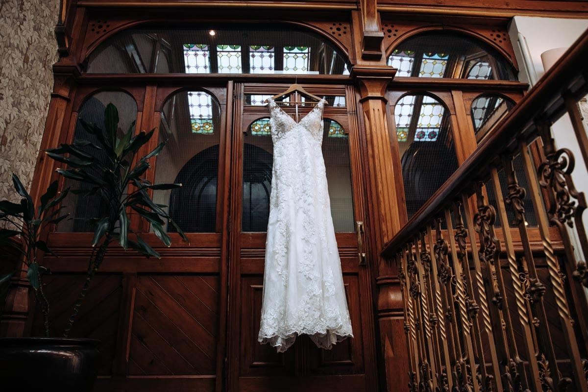 Dress hanging on the stairs