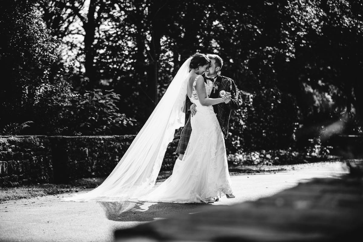 bride and groom portraits at rivington barn
