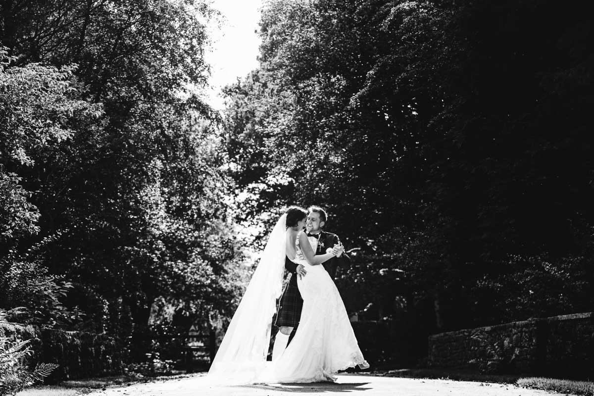bride and groom at rivington barn bolton