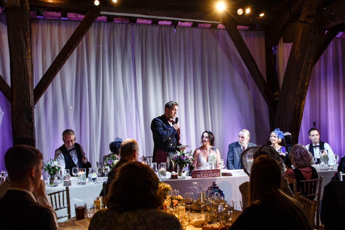 groom speech at rivington barn