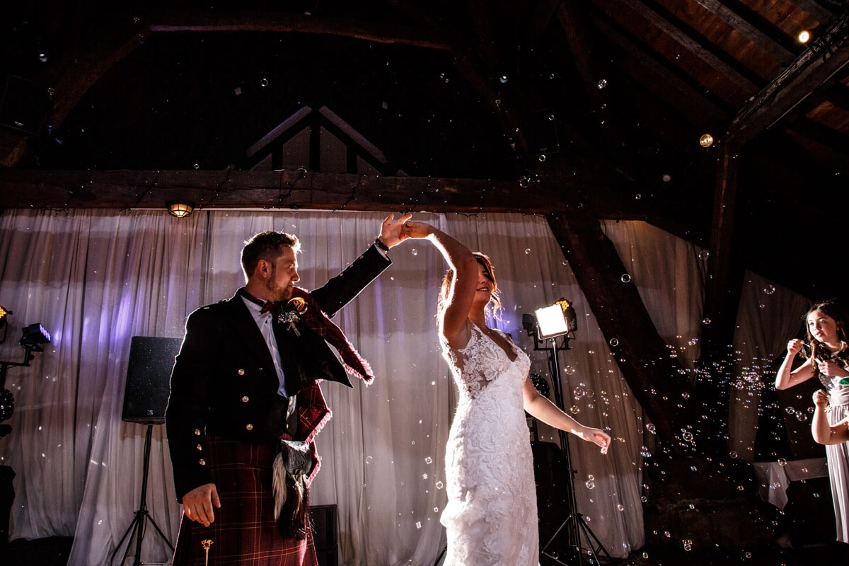 first dance at rivington barn