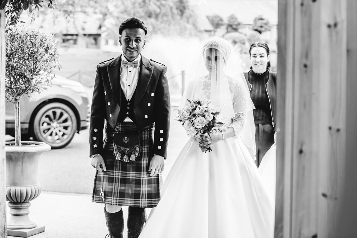 Bride and her brother at Colshaw Hall
