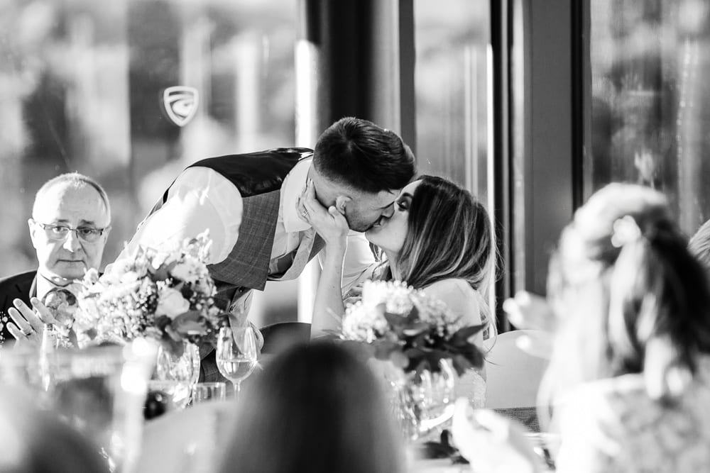A moment during speeches at a manchester wedding
