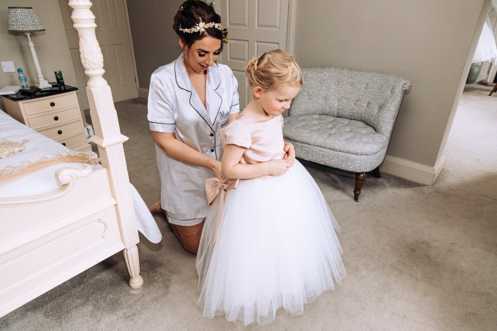 bride with her daughter at soughton hall