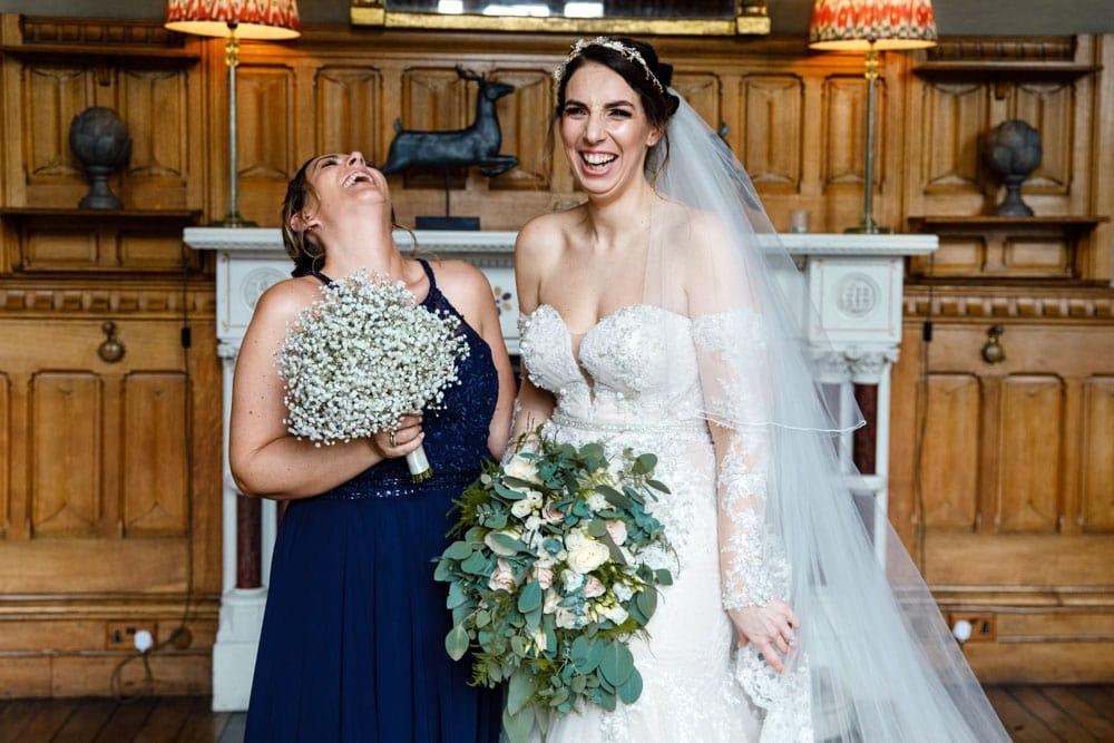 having fun inside soughton hall at a wedding
