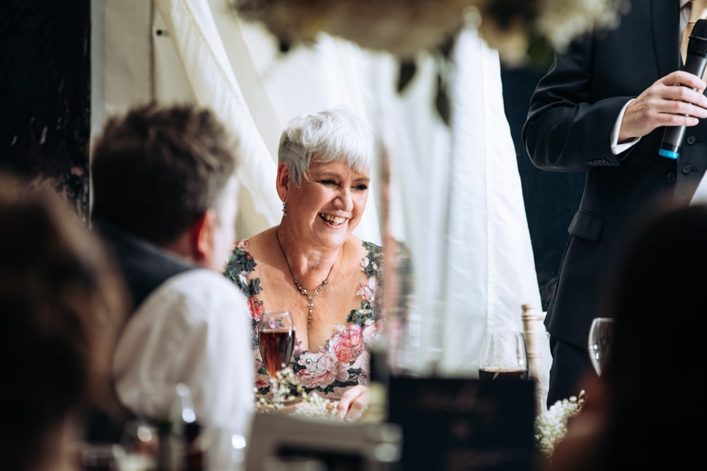 mother of the bride during speeches at soughton hall