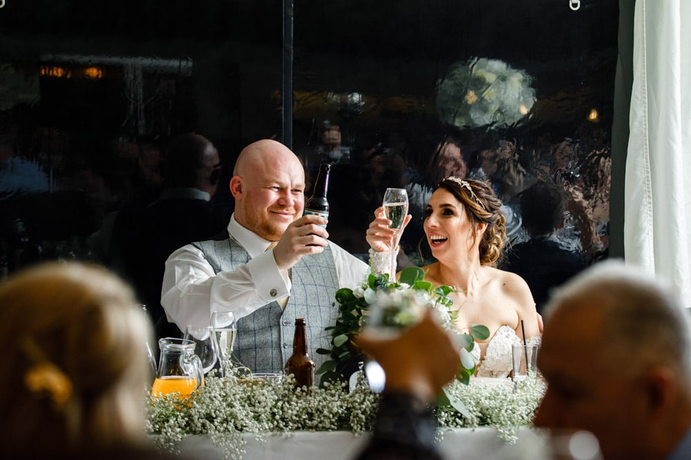 toast to bride and groom at soughton hall