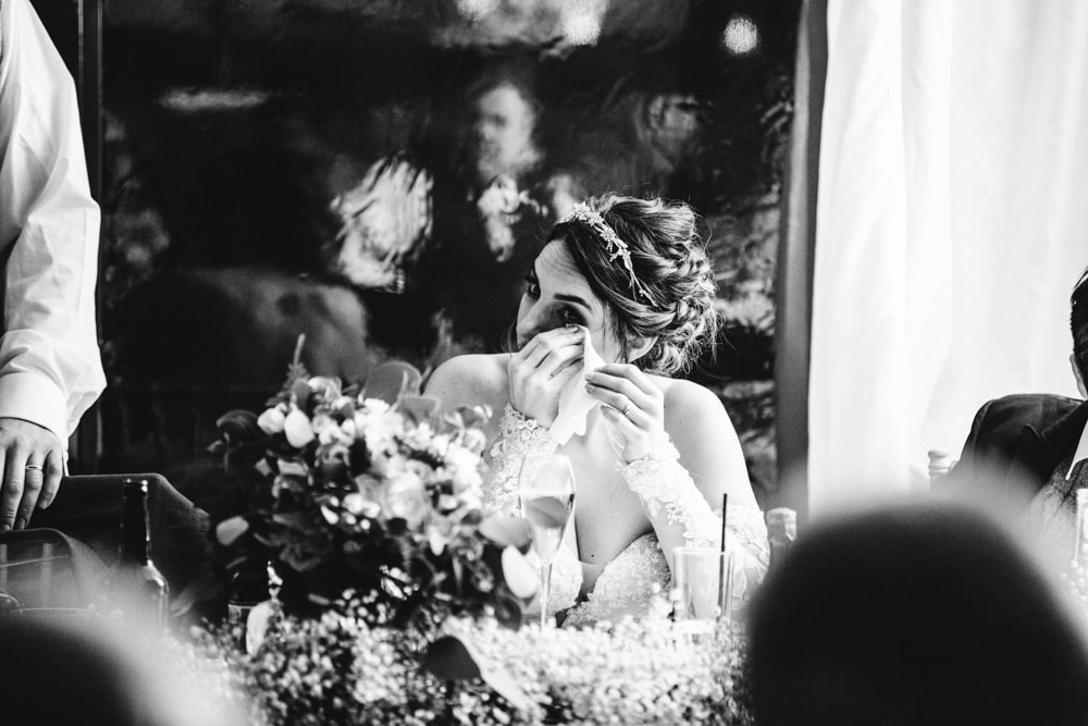 teary bride at soughton hall