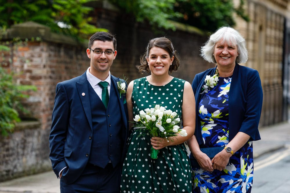 wedding party outside Heron House Registry Office