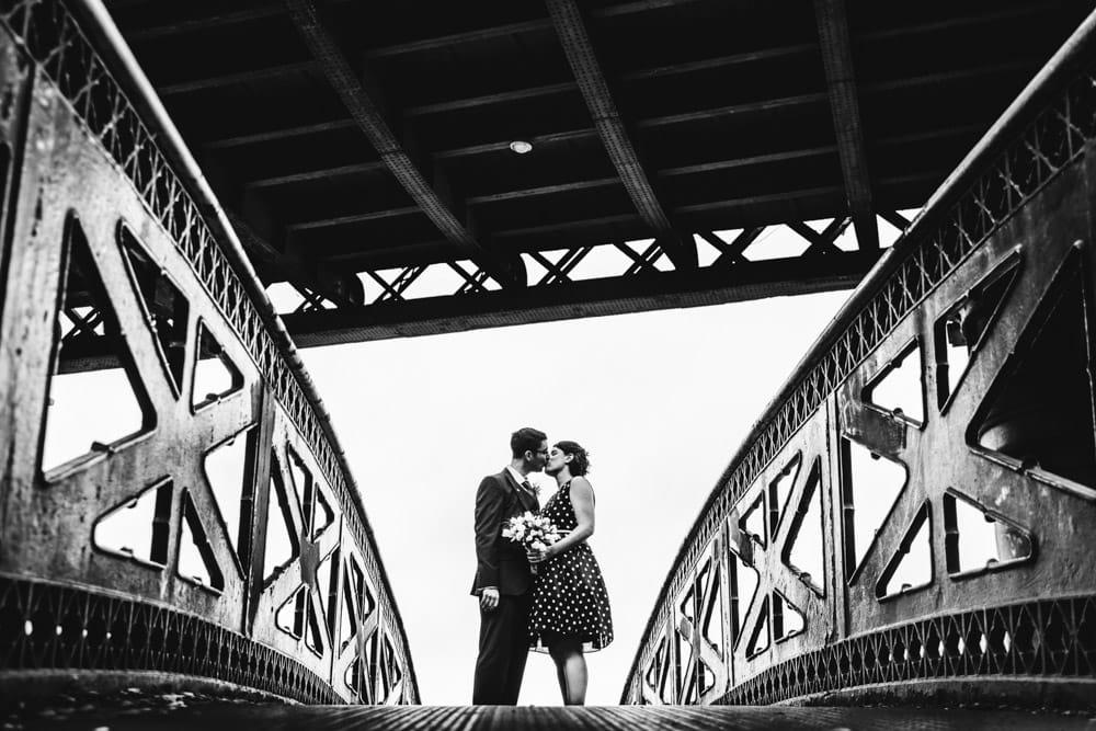 castlefield bride and groom on the bridge