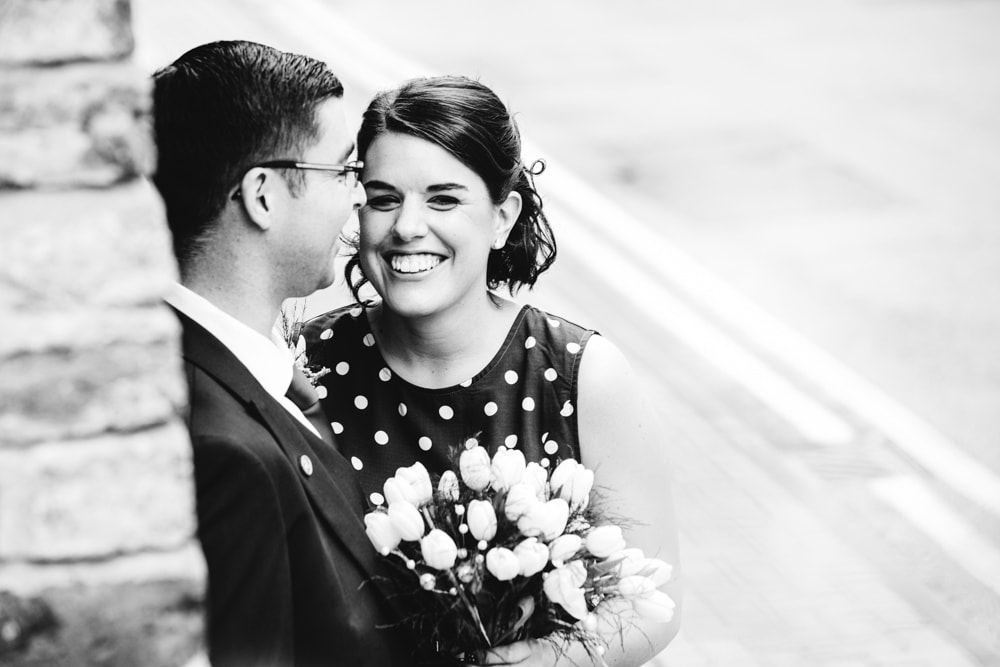 bride and groom in manchester