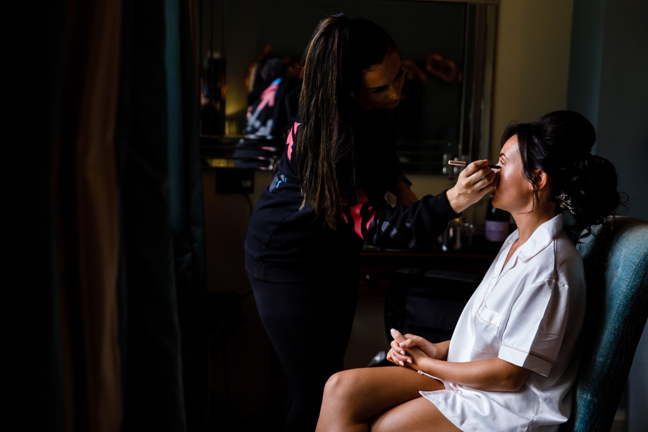 Bride getting ready at Inglewood Manor