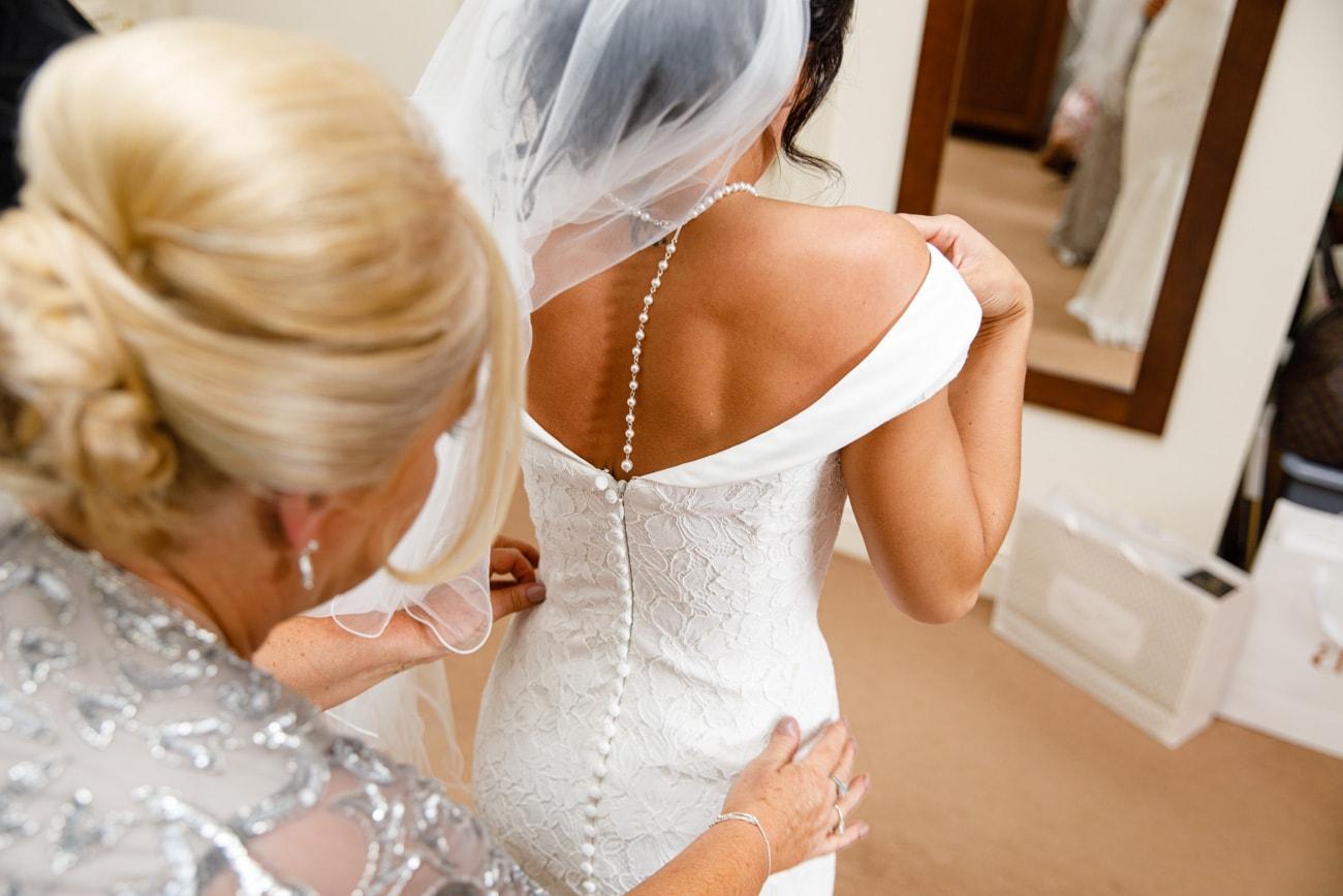 bride dressed at inglewood manor