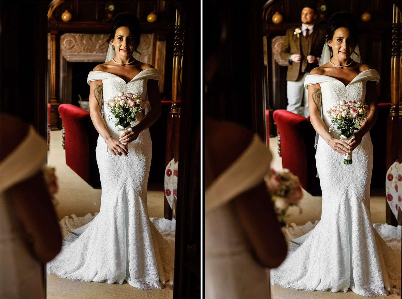 bride and groom in bridal suit at inglewood manor