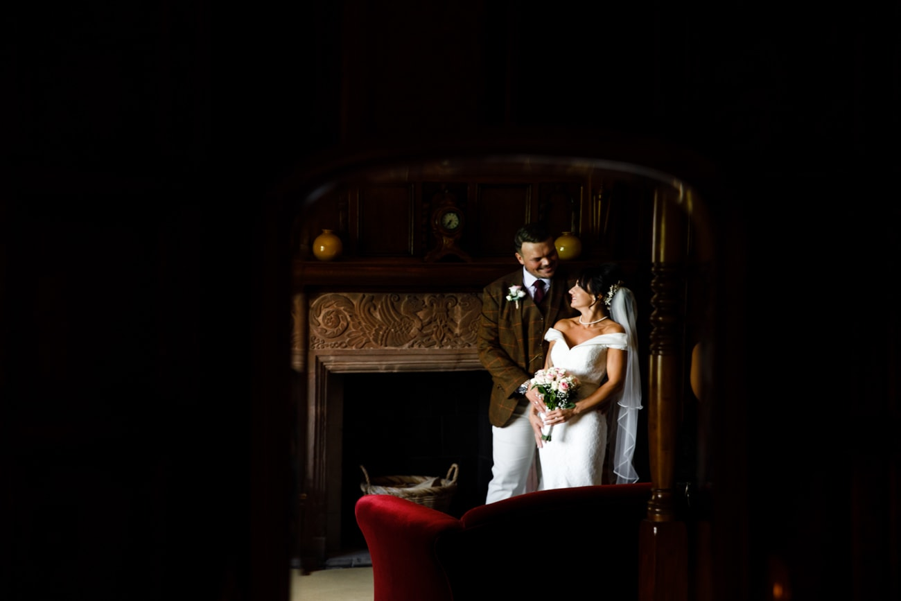 bride and groom in mirror at inglewood manor
