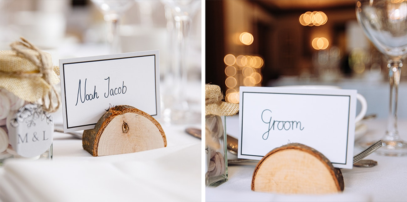 bride and groom place setting on table