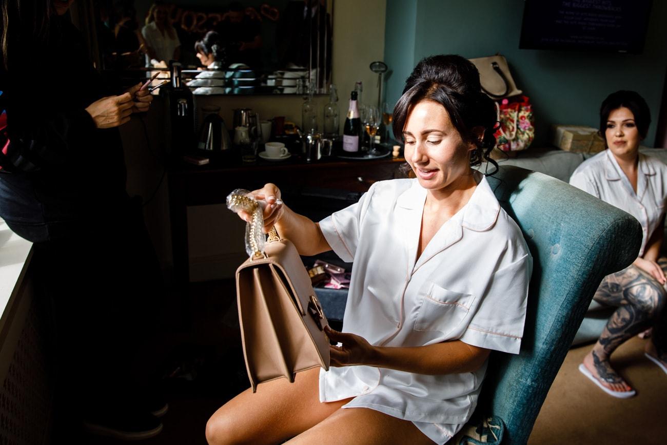 bride getting a new handbag