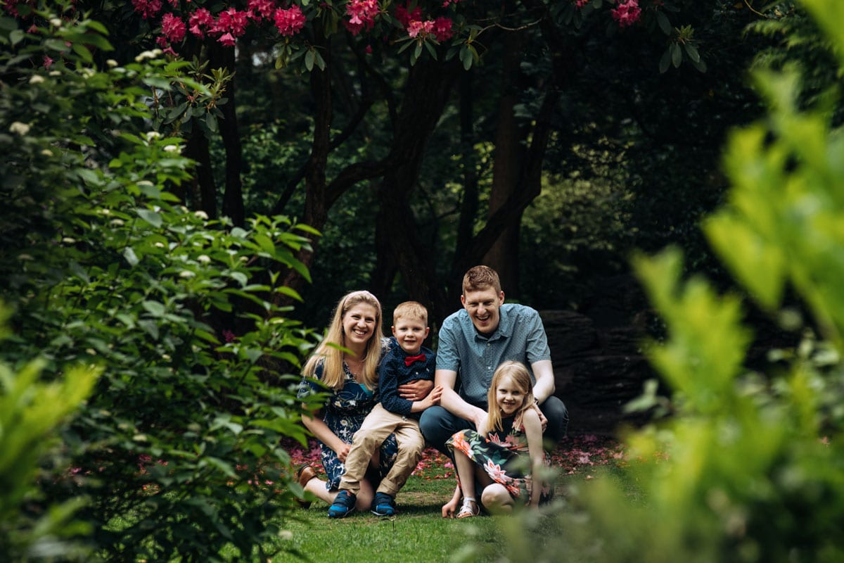 Family photograph in trees